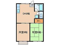 愛知県小牧市大字村中の賃貸アパートの間取り