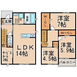 [一戸建] 愛知県小牧市大字北外山 の賃貸【/】の間取り