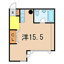 Via house C棟 1階ワンルームの間取り