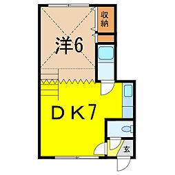 フローレンスミキB館 2階1DKの間取り