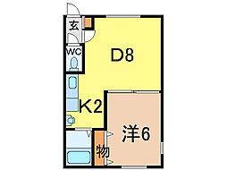 シンフォニーミキB館 2階1DKの間取り
