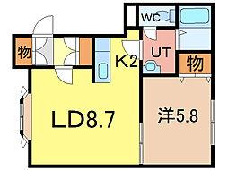 YJ北彩都[2階]の間取り