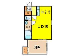 メゾン・ド・ソレイユ3 2階1LDKの間取り