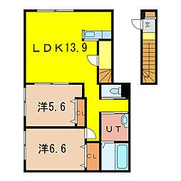 OCTAII 2階2LDKの間取り