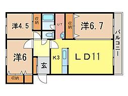 エスティ三番館2号館[3階]の間取り
