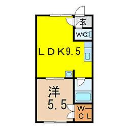 北方館 2階1LDKの間取り