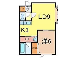 ロワールE[2階]の間取り