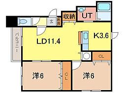 HKプラザ6条通[1階]の間取り