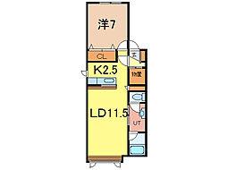 diar life 8条 1階1LDKの間取り