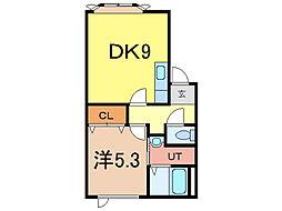 ドレクセル・ヒル 2階1DKの間取り