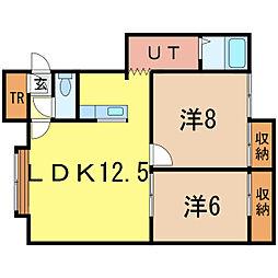 ユーチャリスF[1階]の間取り
