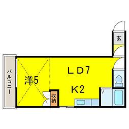 エスパニア4B[2階]の間取り