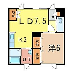 リッチハウスNo.2[1階]の間取り