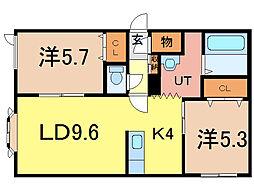 ノヴェル5・1B[1階]の間取り
