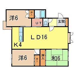 北海道旭川市大町二条1の賃貸アパートの間取り