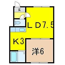 樋口マンション G棟[2階]の間取り