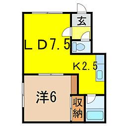 樋口マンション G棟[1階]の間取り