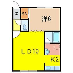 モアライフII 2階1LDKの間取り