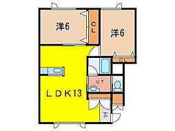 ハイビルディングシュール[2階]の間取り