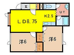 トーワ北門16[1階]の間取り