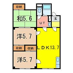 パレス3.25[1階]の間取り