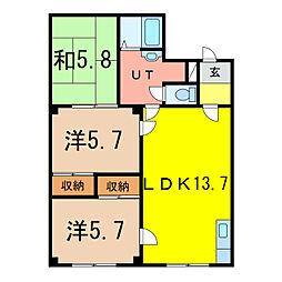 パレス3.25[4階]の間取り