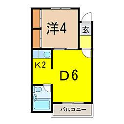 ホワイトルーム錦町壱番館[2階]の間取り