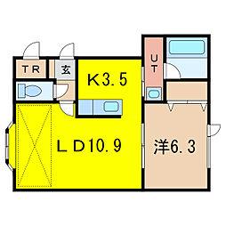 クローバーA[2階]の間取り