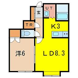 グレートビューF3・3 A棟[1階]の間取り