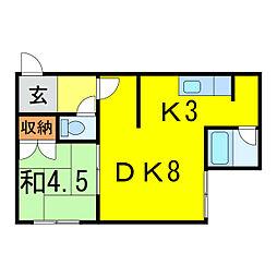 樋口マンションD[1階]の間取り