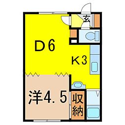 コーポ幸[1階]の間取り