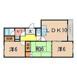 東光1・3ハイツ[1階]の間取り