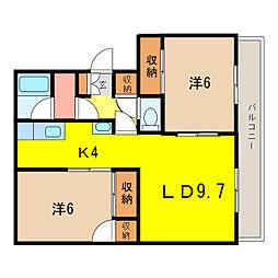横田ハイツ[3階]の間取り