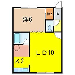 モアライフI 2階1LDKの間取り