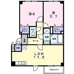 北海道旭川市緑が丘南三条1丁目の賃貸アパートの間取り