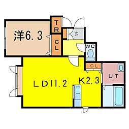 リュミエ 2階1LDKの間取り