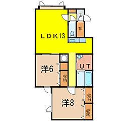メゾンT&C B棟[2階]の間取り