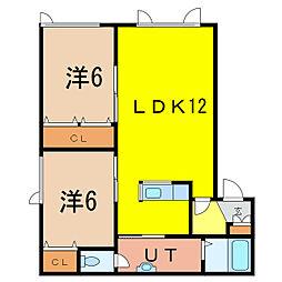 PARK HILL(パークヒル) 1階2LDKの間取り