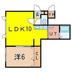 コンフォート・ネオ8・17 1階1LDKの間取り