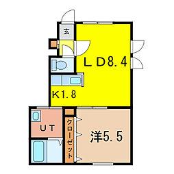 ジェラン神楽岡 フェリーチェ 1階1LDKの間取り