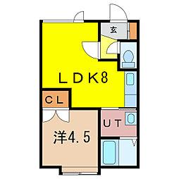ウィステリア 1階1DKの間取り