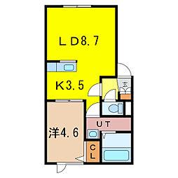 新築豊岡13−3AP 1階1LDKの間取り