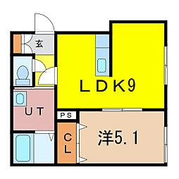 新築)旭川永山 1階1LDKの間取り