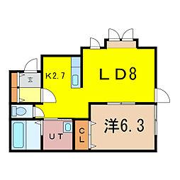2-17新築MS A 1階1LDKの間取り