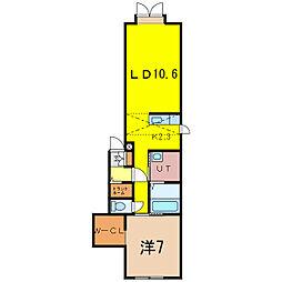 2-17新築MS B 2階1LDKの間取り