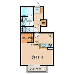 名鉄西尾線 桜町前駅 徒歩13分の賃貸アパート 1階ワンルームの間取り