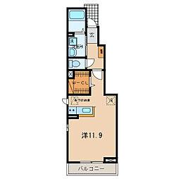 JR東海道本線 幸田駅 徒歩12分の賃貸アパート 1階ワンルームの間取り