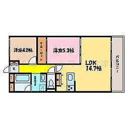 滋賀県大津市本丸町の賃貸マンションの間取り