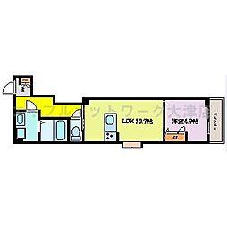 JR東海道・山陽本線 膳所駅 徒歩19分の賃貸アパート 3階1LDKの間取り
