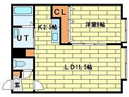 SAF SUMIKAWA[3階]の間取り